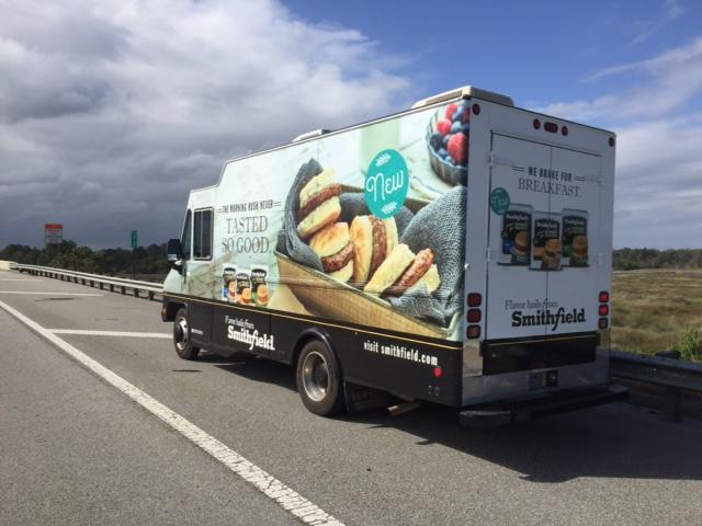 step van on road