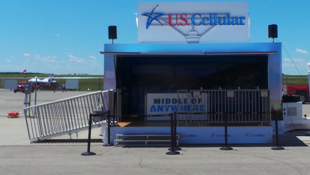 Pop up stage trailer front