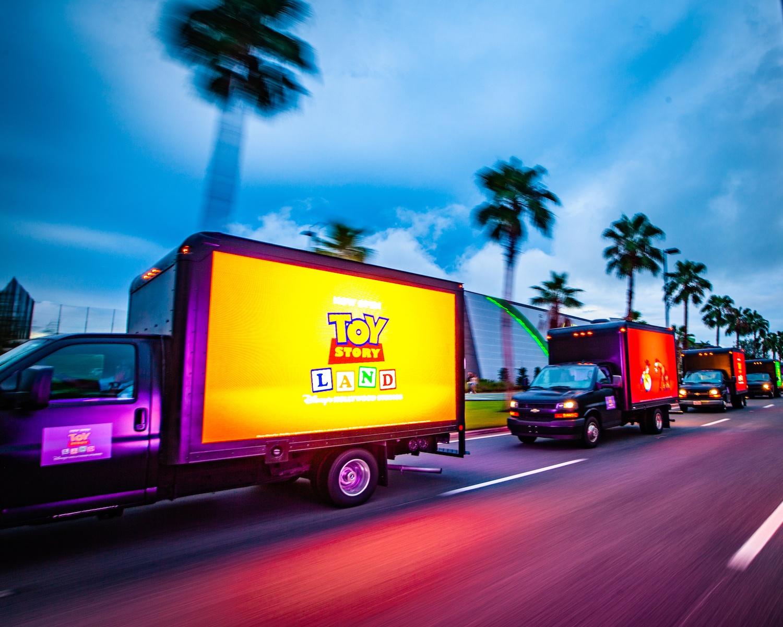 LED truck fleets at night