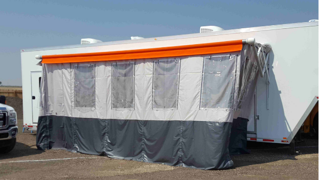 mobile gym trailer stage cover