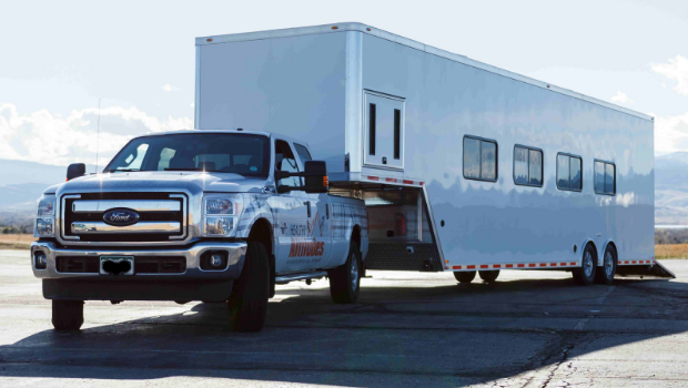mobile gym trailer traveling