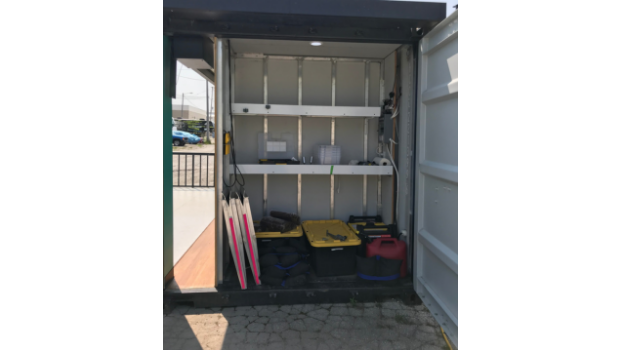 Shipping container storage room