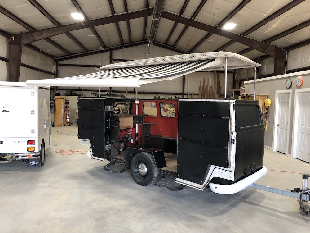 Food cart open awning
