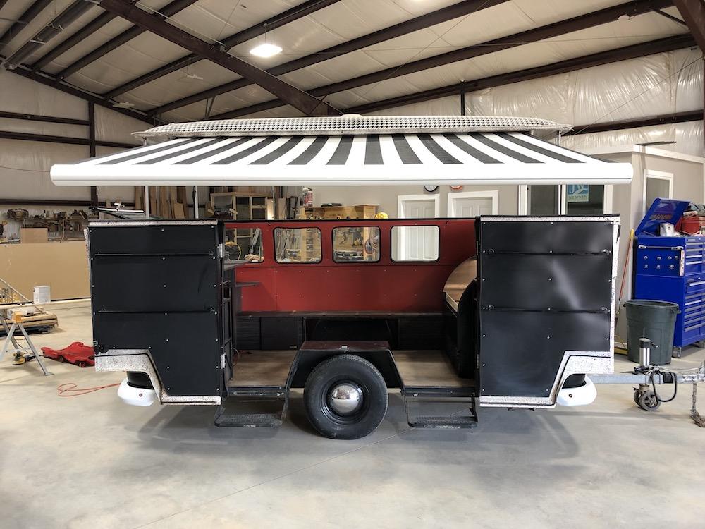 merchandise cart awning open
