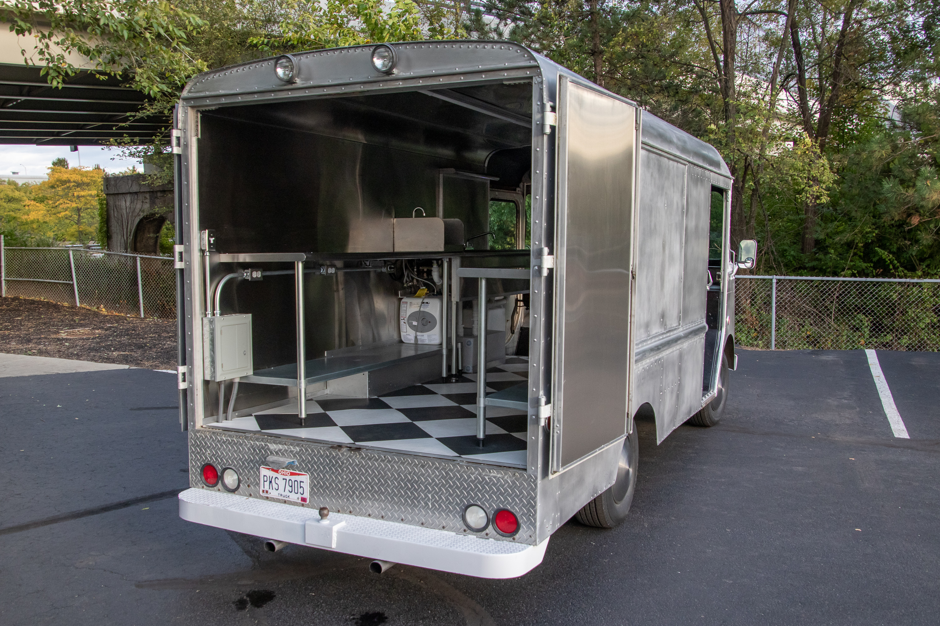 Food Truck Rental rear doors open seeing inside from side angle