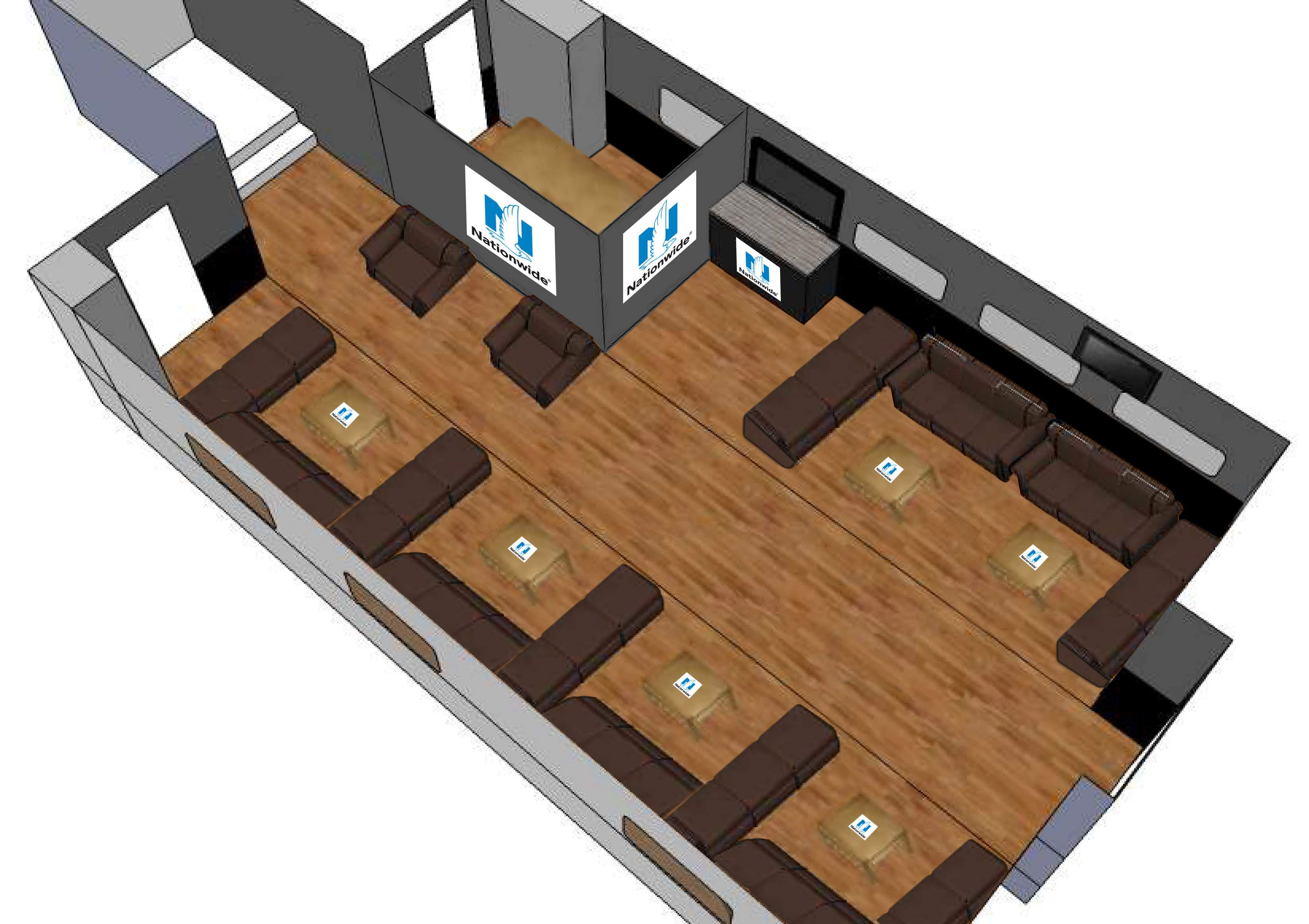Interior of Double expandable hospitality trailer