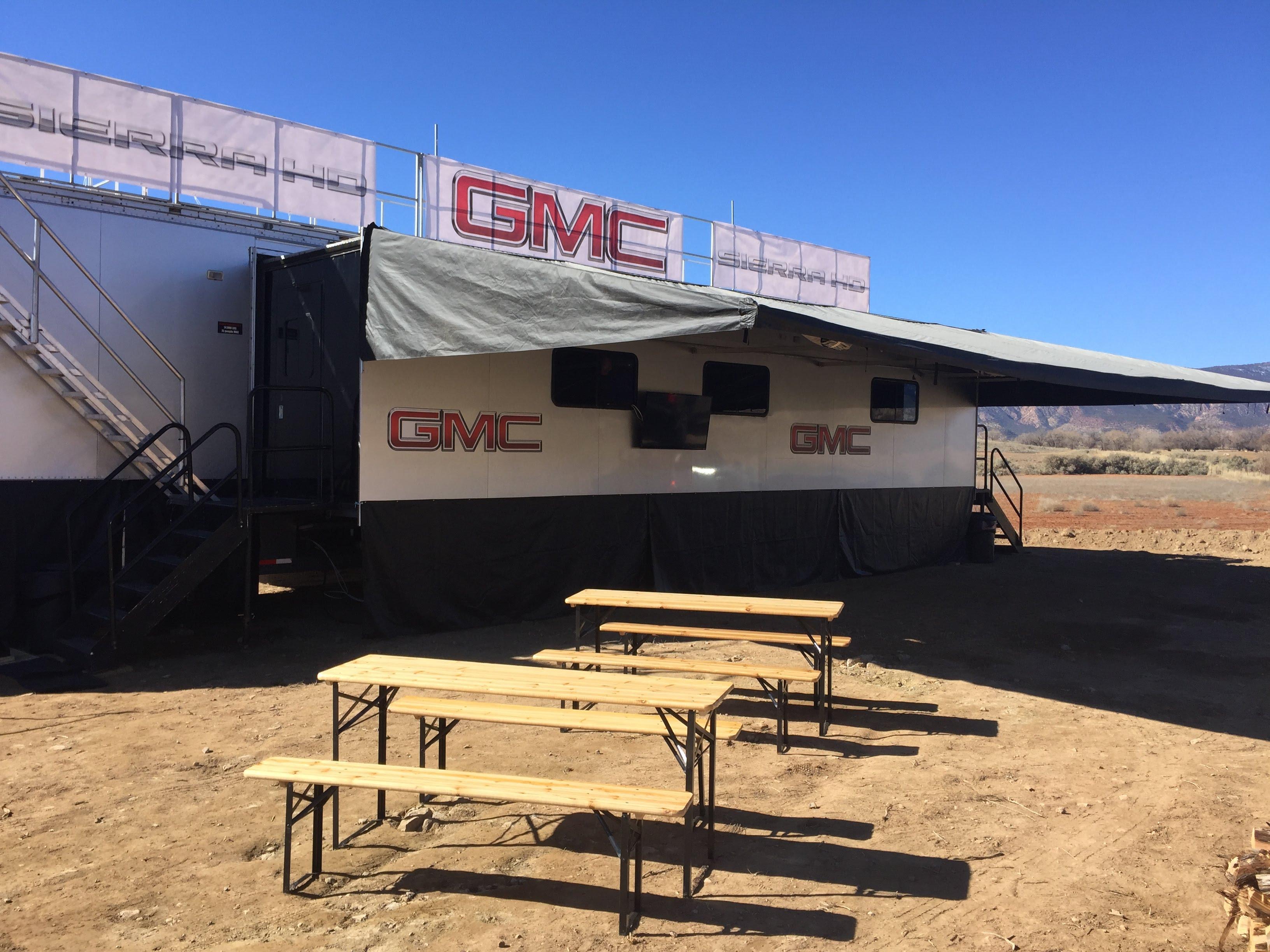 hospitality trailer awning setup at GMC event