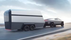 tesla cyber truck hauling trailer