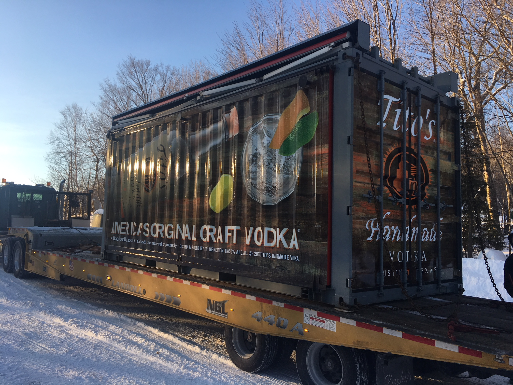 event container on trailer