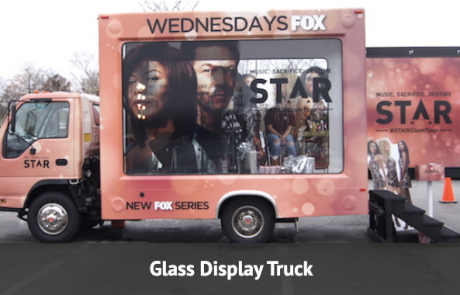 glass walled display truck