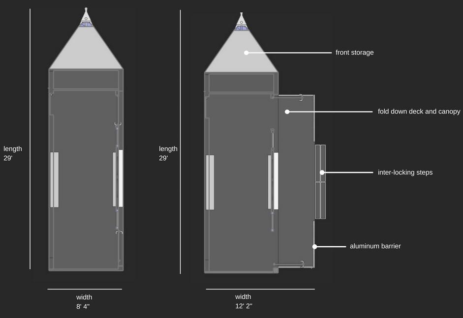 pop-up shop trailer dimensions