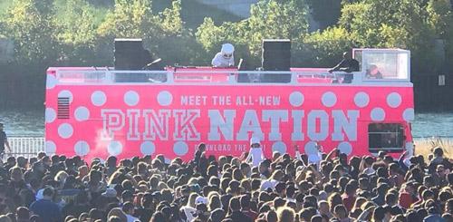 Double decker bus DJ event pink nation
