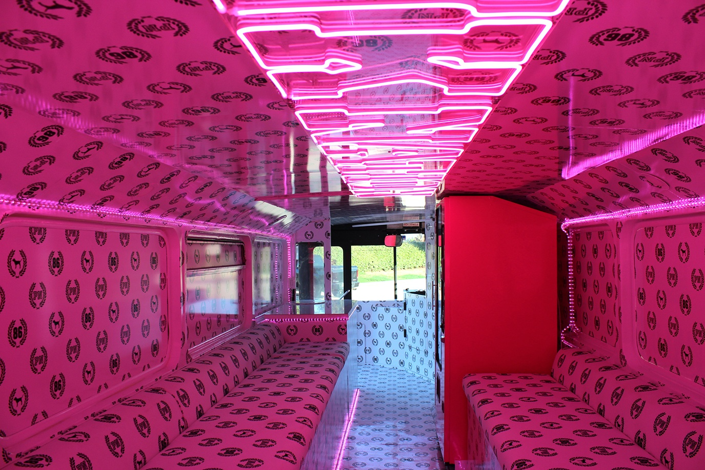 Double decker bus for rent interior