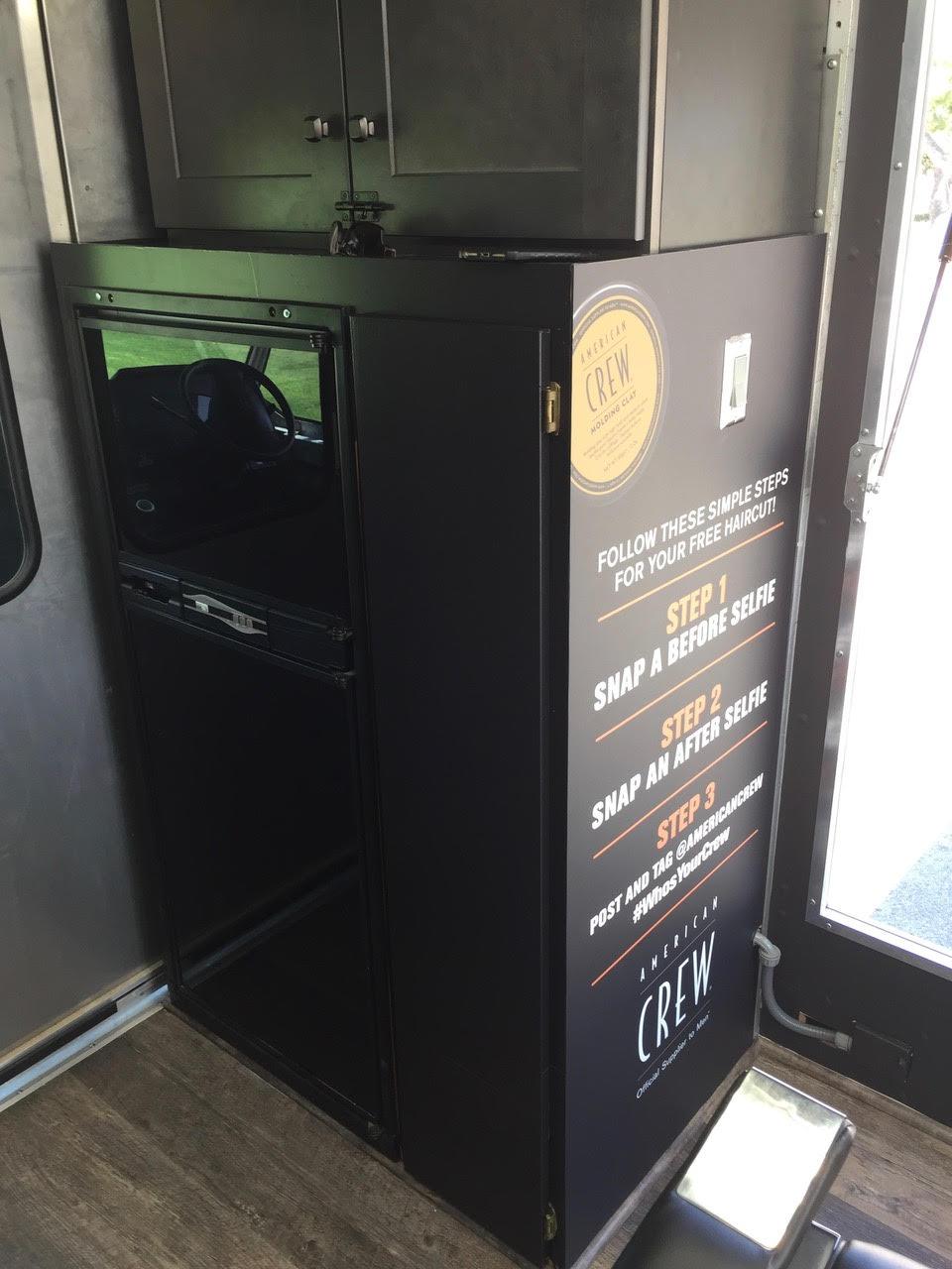 Mobile Barber Shop Truck refrigerator