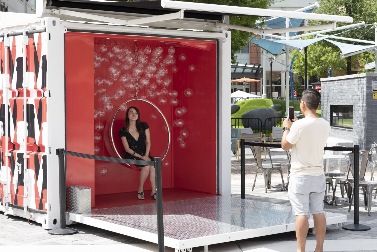 small shipping container stage for events