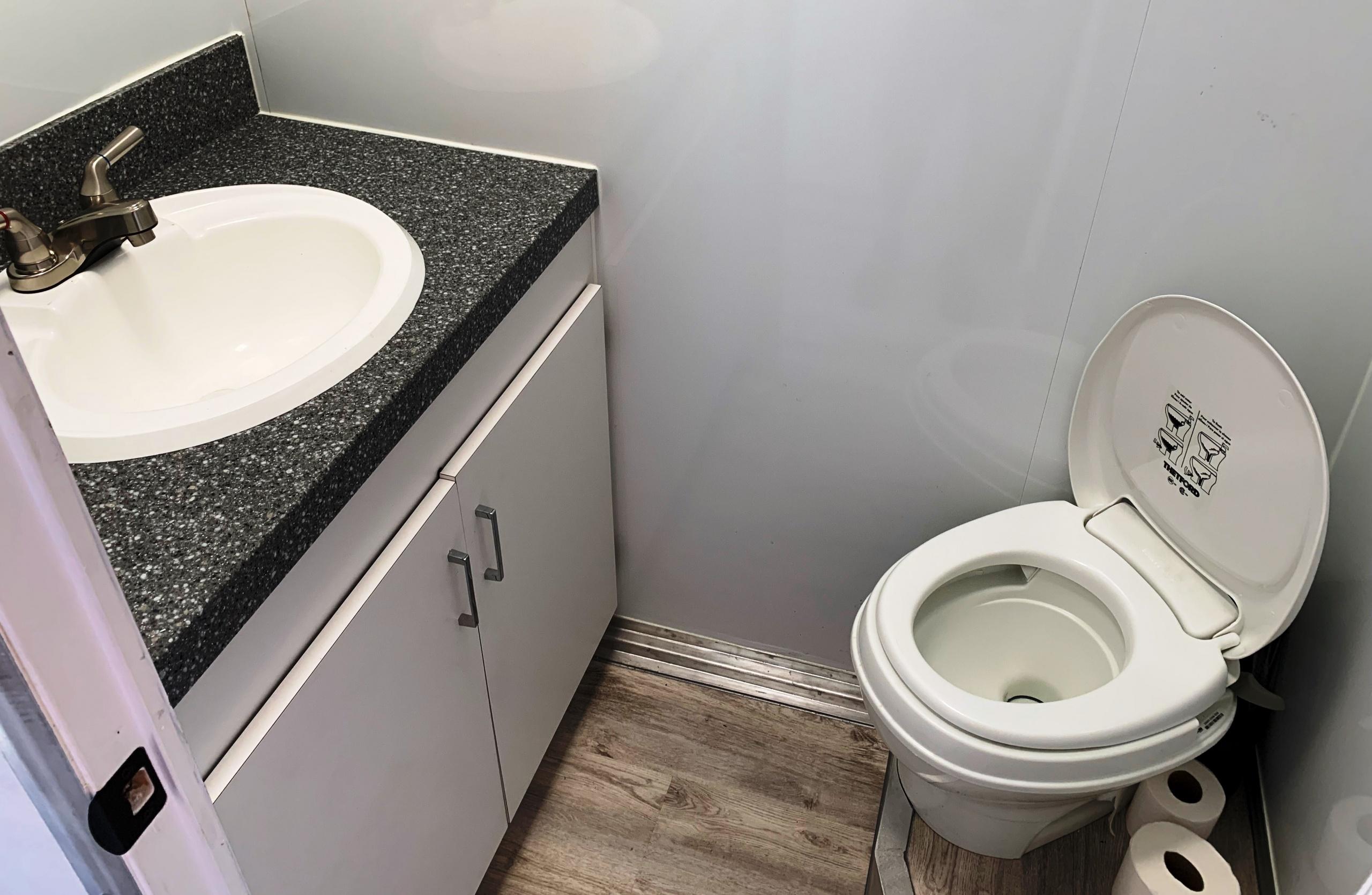 Advertising trailer bathroom
